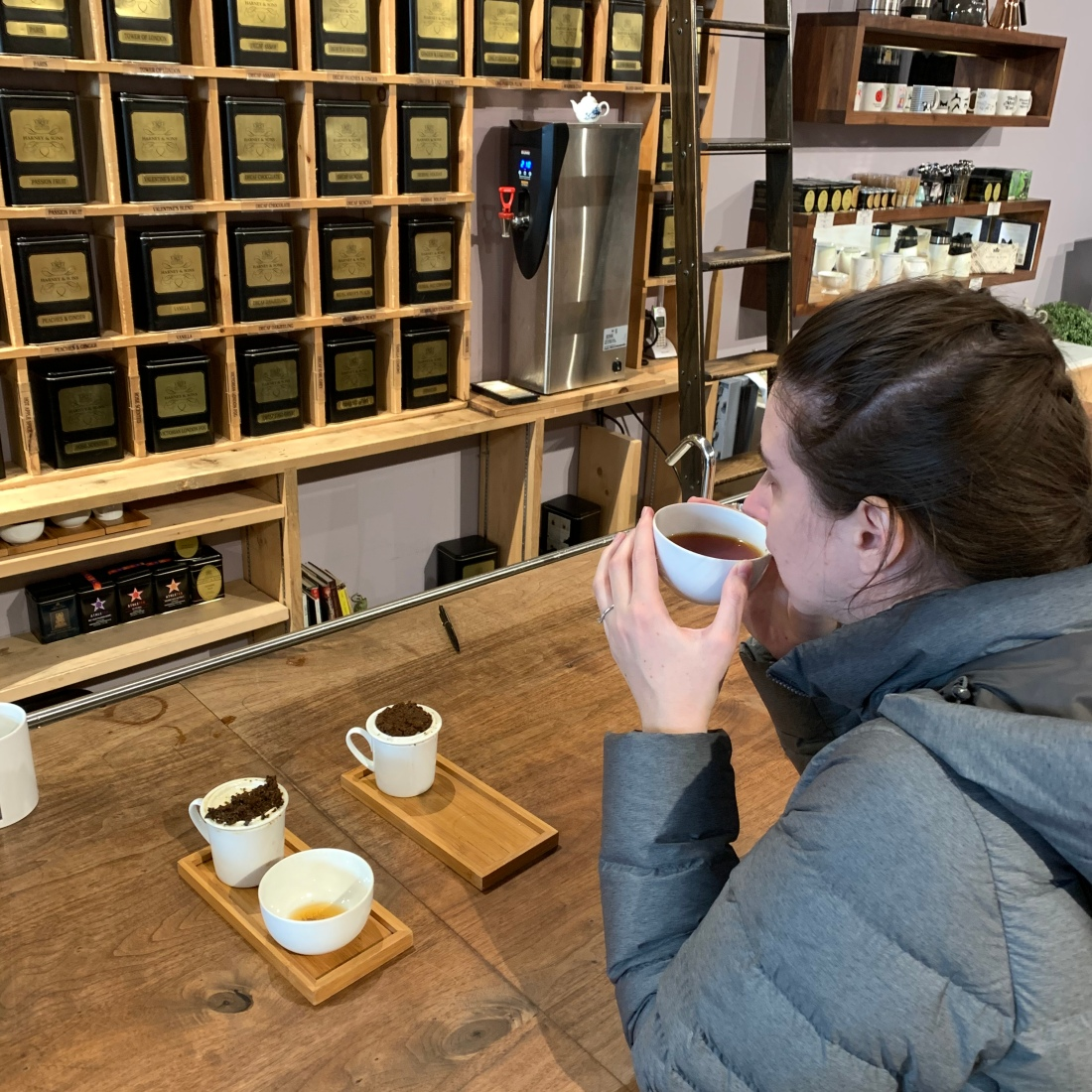 Tasting tea at Harney & Sons