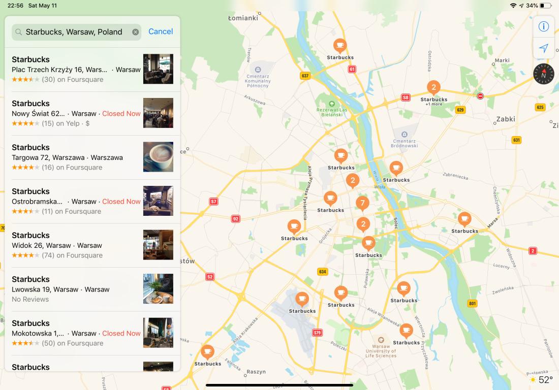 Map of Starbucks in Warsaw